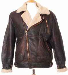 Vintage leather sheepskin flight jacket