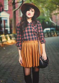 Red and navy flannel shirt, yellow-tan skirt, brown and navy purse, black tights, tan hat.