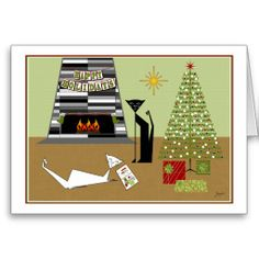 """""""Mid-Century Winterland"""" featuring Pawlie n Ester. Now available as an exclusive Holiday card in my Zazzle shop!"""