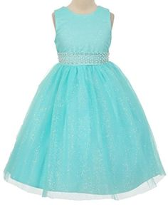 Wii888lo Sleeveless Tulle Sparkling Pageant Communion Wedding Flower Girl Dress 10 Aqua *** Want additional info? Click on the image.