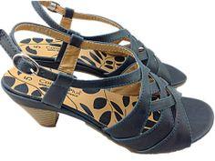 NEW! Ladies Navy Kitten Heel Wide Fitting Strappy Slingback Open Toe Sandal  £14.99
