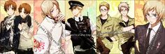 Axis Powers: Hetalia, South Italy, North Italy, France, United Kingdom, Prussia, Germany, Switzerland