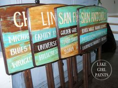 Lake Girl Paints: Places You Have Lived - In Word Art. Transformed TV Trays with paint Wooden Tv Trays, Painted Trays, Painted Tables, Hand Painted, Tv Tray Makeover, Rental Home Decor, Classroom Art Projects, Diy Projects, Lake Signs