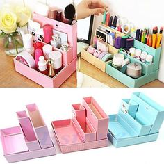 super Karton Aufbewahrungsbox Schreibtisch Dekor DIY Briefpapier Make-up Cosmetic Organizer - List of the most creative DIY and Crafts Diy Simple, Easy Diy, Diy Instagram, Diy Rangement, Papier Diy, Ideas Para Organizar, Ideias Diy, Diy Décoration, Fun Diy