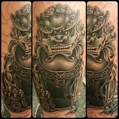 #fudog #japanese #japanesestyle #japanesetattoo #tattoo #blackandgrey #blackandwhite #realistic @risingbastards