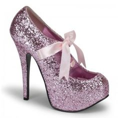 Teeze Baby Pink Glittered Platform Pump - New at GothicPlus.com Price: $75.00  Glitter covered pump has a concealed platform that is about 3/4 inches high and a 5 3/4 inch heel. Satin bow tie front for a touch of whimsey. In so many pretty colors it will be hard to choose just one - here in pretty baby pink! The perfect party shoe!  All man made materials with padded insole and non-skid sole.  #gothic #fashion #steampunk