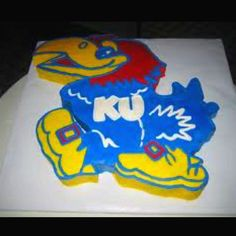 Jayhawk cake! Maybe do this in cupcakes..