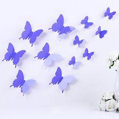 DIY 3d pvc vegg klistremerke sommerfugl stickers magiske klistremerker 12…