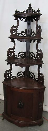 C. 1860 Burled Walnut Victorian Corner Etagere by T Brooks