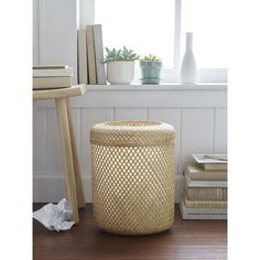 Design Ideas Kayfong Lidded Wastecan Natural By ($40) ❤ liked on Polyvore featuring bathroom accessories, bamboo bathroom accessories, bamboo waste basket and bamboo bath accessories