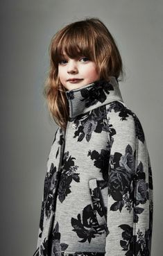Floral printed neoprene coat, new minime looks for fall 2015 kidswear at MSGM