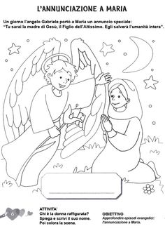 L'ANGOLO: COLORA LA BIBBIA:L'annunciazione a Maria Colouring Pages, Coloring Books, Sunday School Coloring Pages, Bible Drawing, Art Education Lessons, Christmas Paintings On Canvas, Church Crafts, Theme Noel, Bible Crafts