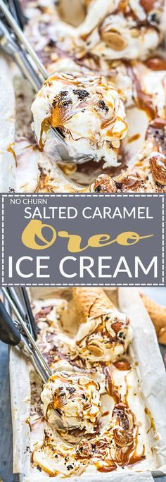 No Churn Salted Caramel Oreo Ice Cream is the perfect frozen sweet treat for summer. Best of all, made with just 6 ingredients and no ice cream maker needed! Made with a smooth and creamy vanilla ice cream and ribbons of salted caramel and chunks of Oreo Salted Caramel Ice Cream, Oreo Ice Cream, Low Carb Ice Cream, Ice Cream Desserts, Ice Cream Party, Frozen Desserts, Ice Cream Recipes, Frozen Treats, Ice Cream Mix