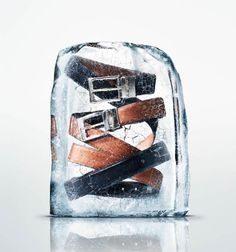 Photographs of Clothing and Accessories Frozen in Large Blocks of Ice pierreice 1