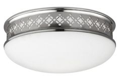 """13"""" Eliza 2-Light Flush Mount, Nickel - Fashioned with geometric cutouts on its polished steel fixture, this classic two-light flush mount embodies distinctive texture and movement. Hardwired.  $238.16 was $320.60 (26% off)."""