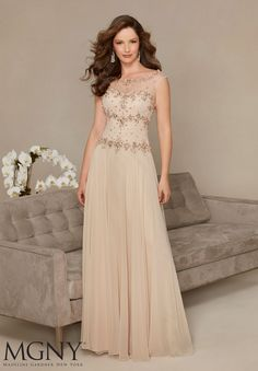 Evening Gowns and Mother of the Bride Dresses by MGNY Beaded Embroidery on Chiffon Matching Stole. Colors: Midnight, Champagne.