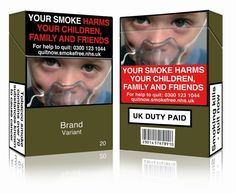 An undated handout image released by Action on Smoking and Health (UK) (ASH (UK)) in London on May 19, 2016 shows a mock-up design of a standardised cigarette pack. This image is fully compliant with both the EU Tobacco Products Directive and the UK standardised tobacco packaging regulations. Tobacco giants have lost a legal challenge in London against imposing new rules for standardised packaging due to come into force on Friday, meaning Britain will join a growing list of countries to do…