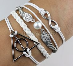Infinity Harry Potter Snitch white Bead Bracelet by happygarden999, $6.99