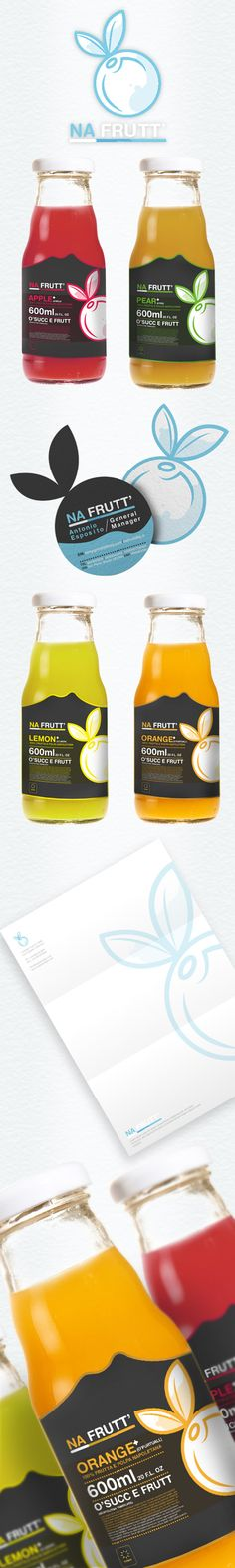 NA FRUTT juice #packaging and stationery design. Love how the business cards are diecut with the logo.