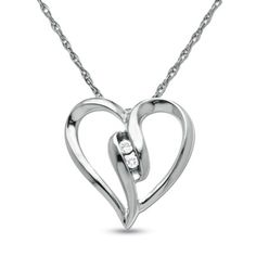 Diamond Duo Heart Pendant in 10K White Gold - Zales
