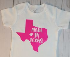 Birth Announcement/Baby Girl Onesie/Made in Texas/Baby shower Gift/ Baby Girl Gift/Baby Gift/Texas Love/Texas Baby Girl by sunnyvilledesigns on Etsy https://www.etsy.com/listing/540203922/birth-announcementbaby-girl-onesiemade