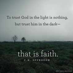 challies's photo: To trust God in the light is nothing, but trust him in the dark—that is faith. —C.H. Spurgeon