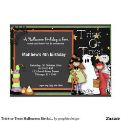 #zazzle Sold this #halloween #kids #trickortreat #invitations to TN & NJ.  Thanks for you who purchased this. Check more at www.zazzle.com/graphicdesign/halloween+birthday