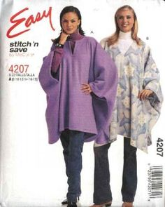 Free Polar Fleece Sewing Patterns | McCall's Sewing Pattern 4207 Misses Size 8-18 Easy Fleece Poncho Ruana