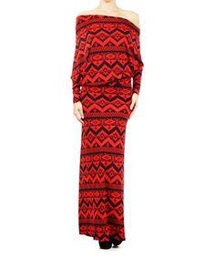 Love this Red & Black Zigzag Off-Shoulder Maxi Dress - Women by Karen T. Design on #zulily! #zulilyfinds