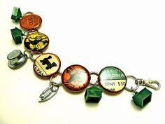 Repurposed Upcycled Vintage Monopoly Game Charm Bracelet