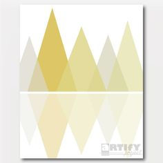 Mustard Mountain Print Reflections Mustard and by ArtifyProject