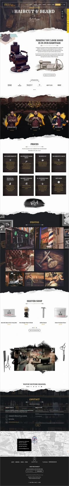 Buy Shaver - Barbers & Hair Salon WordPress Theme by freevision on ThemeForest. The Shaver is a Premium WordPress Theme, suitable for hair salons, beauty salons and hairdresser. Layout Site, Website Layout, Web Layout, Web Design Tips, Page Design, Blog Design, Design Design, Design Tutorials, Design Projects