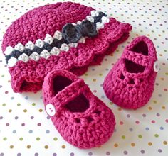 Baby Girl Booties and Hat Set - Modern Crochet Mary Janes - Cloche Cap Bow - Infant  0 to 3 Months - Size 1 Shoe - Gift Boxed. $38.00, via Etsy.