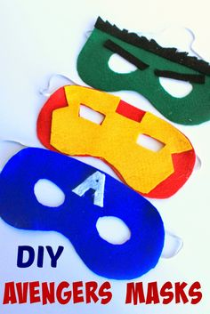 Does your child want to dress up like the Hulk, Captain America or Iron Man? THese DIY Avengers Masks with patterns are super easy to make! Avengers Crafts, Avengers Costumes, Diy For Men, Diy For Kids, Crafts For Kids, Diy Superhero Costume, Superhero Party, Iron Man Party, Avengers Birthday