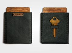 This slim wallet can hold 6 cards, folded bills and has a slot for a house key.