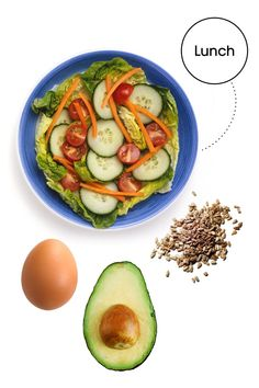 """2 cups salad greens with 1/2 a diced cucumber, 10 cherry tomatoes, 1/4 cup shredded carrots, 1/2 an avocado, 1 hard boiled egg, 1 tbsp sunflower seeds, and a squeeze of lemon and vinegar Why: """"I love this lunch for the combo of lean protein, healthy fats, and filling veggies,"""" Glassman says. """"It's a 'clean,' simple, go-to salad that won't make your belly bulge!"""""""