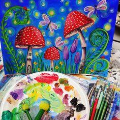 FREE Acrylic Tutorial Mushroom Fairy Garden Painting LIVE Saturday (link in bio) on YouTube #fairygarden #mushrooms #firefly #dragonfly #acryliconcanvas #beginner #paintparty #diy