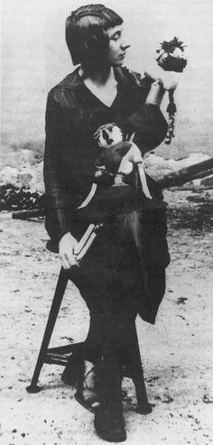 Hanna Höch with two Dada dolls, Berlin, 1920