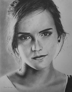 Hand-drawn pencil of Emma Watson