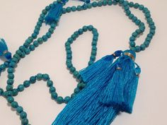 Blue Bali StoneMala Necklace with Tassels and Gold Thread-G025 by JennPetersShop on Etsy