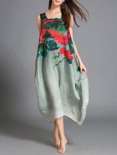 #AdoreWe #StyleWe Midi Dresses - ZiSheng Multicolor Asymmetrical Printed Sleeveless Linen Midi Dress - AdoreWe.com