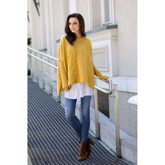 Pulover asimetric mustar Poncho Pullover, Poncho Sweater, Bell Sleeves, Bell Sleeve Top, Photo Portrait, Outfit, Tunic Tops, Style Inspiration, Sewing