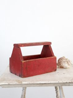 Vintage Tool Box / Red Wood Caddy on Etsy, $68.00