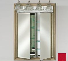 "Afina Corporation DD-LT3140RCOLRD 31x40 Traditional Integral Lighted Double Door - Colorgrain Red by Afina Corporation. $1267.00. Matching beveled mirror behind lights.. 3/4 Perimeter bevel mirror standard.. 3/8 Thick adjustable glass shelves.. Up to 60 watts per socket.. Gray satin anodized aluminum construction.. 3/4"" Perimeter bevel mirror standard. 3/8"" Thick adjustable glass shelves. Matching beveled mirror behind lights. Up to 60 watts per socket. Gray satin anodize..."
