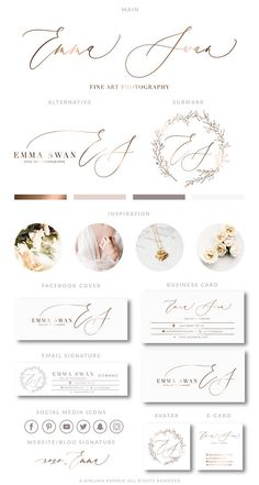 Rose Gold Branding Kit Photography Logo Premade calligraphy