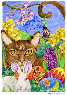 Ostara or What, For Some, Is Called Easter. The Tradition of the Egg at Easter has Nothing to Do With Christianity. It Is a Pagan Festival. So by Giving an Egg This Easter You Are Practicing a Pagan Ritual. Blessed Be.By Artist Cynthia Rudeis. Pagan Festivals, Vernal Equinox, Seasonal Celebration, Beltane, Samhain, Cat Art, Spring Eqinox, Spring Water, Spring Time