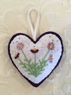 Felt crafts, felt ornament, flowers, embroidery, heart, Valentine, made by Janis