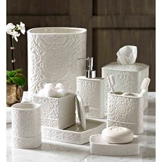 Trump Home Bedminster Damask Bath Accessory Collection | Overstock.com Shopping - The Best Prices on Trump Bathroom Accessory Sets