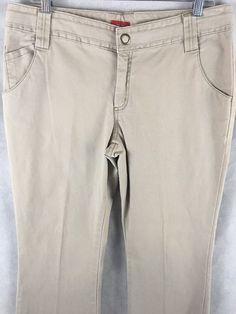 Mossimo Stretch Khaki Flare Leg Pants Snap closure & Back Pockets Size 13  #Mossimo #KhakisChinos