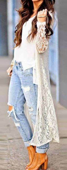 Stylish Lace Cardigan With Jeans